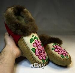 Old Antique Native American Ojibwe Ojibway Beaded Moccasins Indian Beadwork