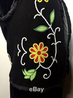 Old Antique Native American Ojibwe Ojibwey Ojiway Ojibwa Beaded Vest Beadwork