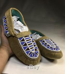 Old Antique Native American Plains Indian Beaded Moccasins Beadwork