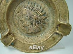 Old Brass Native American Indian Tray Ashtray Cigar Cigarette thick heavy emboss