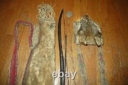 Old Iroquois Quiver with Arrows (Stone Point) and Bag Native American Woodlands
