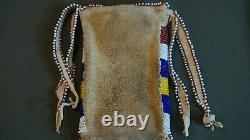 Old Native American Southern Plains Apache Beaded Strike-a-Light Bag Tin Cones