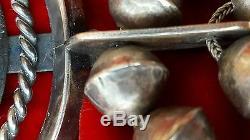 Old Pawn Antique Silver 398 gm Navajo Squash Blossom Necklace Rare Coin Silver