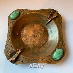 Old Pawn Fred Harvey Indian Native American Copper Turquoise Ashtray Arrowheads