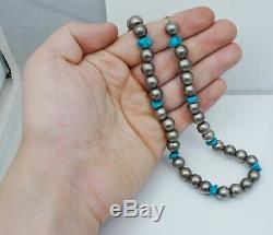 Old Pawn Navajo Blue Turquoise Bead Necklace Vintage Antique Native American