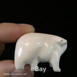 Old Vtg Inuit Eskimo Indian Carving Fossil Erotic Bear Couple Arctic Natives 70s