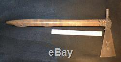 Old plains indian pipe tomahawk forged head bat wing & heart inlaid in blade