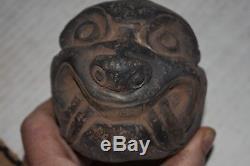 Orig $399. Pre Columbian Mayan Temple Post Jaquar Head 6 Prov