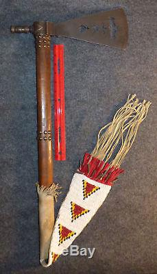 Original Comanche Indian Pipe Tomahawk Old Forged Head Batwing Beaded Hide Drop