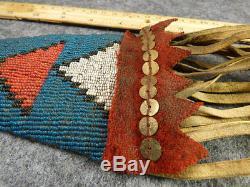Original Mid 1800's Sioux Indian Hammer Poll Tomahawk Beaded Drop Ash Haft Tacks