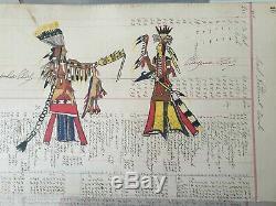 Original Native American Ledger Drawing Lakota Sioux 1904