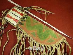 Original Plains Indian Dag Knife & Parfleche Sheath Quillwork & Fringe c1850