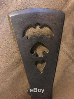 Original Plains Indian Pipe Tomahawk Triple Batwing Head Cutout Forged Head Seam