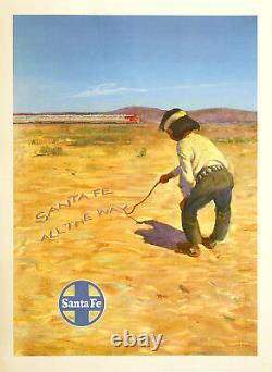 Original Vintage Railroad Poster Santa Fe RR All the Way c1950 Native American