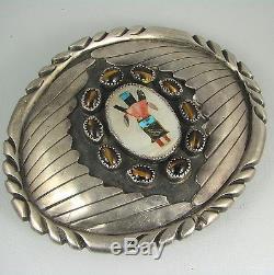 Outstanding Huge Navajo Silver Buckle withZuni Maiden Dancer Inlay