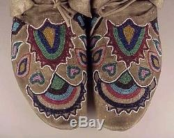 PAIR of CROW TYPE BEADED MOCCASINS PLATEAU, c. 1880s