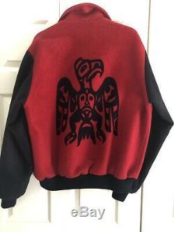 PENDLETON Men's Wool Tribal Native American Bomber Jacket Size Large