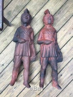 Pair Antique Cast Iron Figural Native American Indian With Tomahawk Andirons