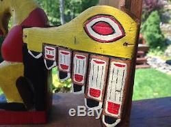 Pair of Large 1920 Cedar Northwest Coast Totem Pole Bookends. Ravens