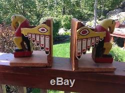 Pair of Large 1920 Cedar Northwest Coast Totem Pole Bookends. Ravens