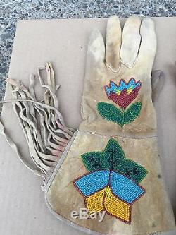 Pair of Vintage NATIVE AMERICAN INDIAN Beaded Leather Gloves