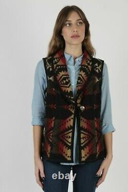 Pendleton Southwestern Native American Aztec Print Black Wool Blanket Vest