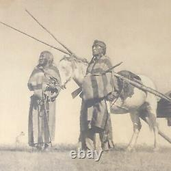 Photo of Plains Indian Native American Couple With Horse /Framed Antique VTG