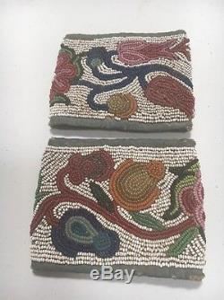 Plains Cree Indian Native American Antique Beaded Sleeves Otter Skin Hair Wraps