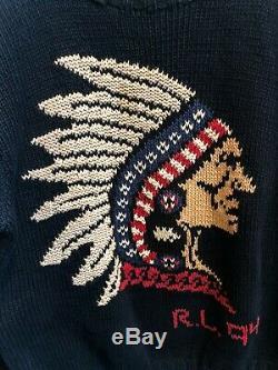 Polo Ralph Lauren Vintage Cotton Knit Sweater Native American 1994 RL 94 Size L