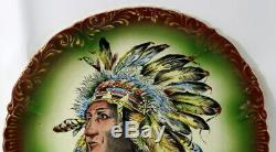 Porcelain Plate White Horse Indian Chief Native American Haynes Antique