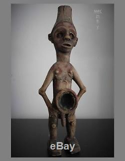 Precontact 22 inch NWC tobacco mortar, boy with funnel hat, Godeffroy Collection