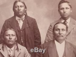 RARE 1902 CABINET PHOTO of KIOWA CHIEF LONE WOLF & OTHERS CHICKASHA INDIAN TERR