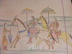 Rare 1915 Native American Indian Pictograph Women, Horses & Umbrellas