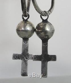 RARE! 19thC Antique Navajo Womans Old Pawn Silver Earrings, Christian Cross