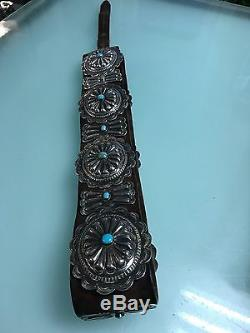 RARE ANTIQUEDead Pawn Native American Silver & Turquoise Concho Belt