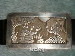 ROBERT BECENTI. NAVAJO STORY TELLING BELT Sterling silver very detailed