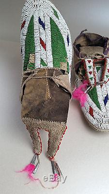Rain-in-the-Face, Antique Sioux (Lakota/ Hunkpapa) moccasins, circa 1900