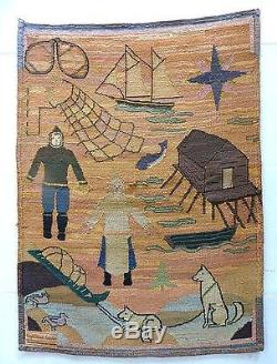 Rare 1910 Era Grenfell Mission Nursery Sampler Hooked Rug