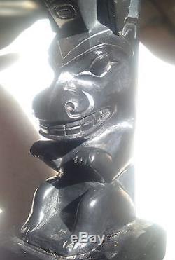 Rare 19th Century Argillite Haida Native Model Totem Pole Fine Antique