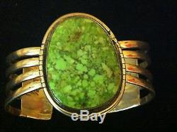 Rare Antique Old Pawn ME. Signed Huge Turquoise& Sterling Silver Cuff Bracelet57g