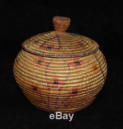 Rare Antique Panamint or Shoshone Polychrome Lidded Indian Basket 5 3/4d