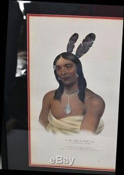 Rare Handcolored Lithograph A-na-cam-e-gish-ca A Chippaway Chief Bowen