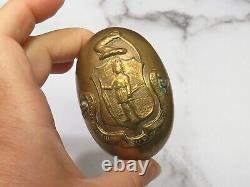 Rare Matched Pair Massachusetts State Shield Emblem Door Knobs Native American