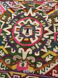 Rare XXL Large Antique Western Native American Indian Navajo Rug COLORFUL Mexico