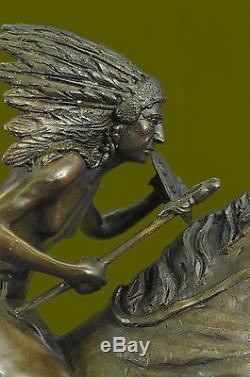 Remington Native American Indian Riding Horse Bronze Sculpture Statue Art Deco