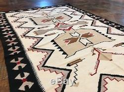 Rug Antique Navajo Indian American Blanket Native Weaving Wool Teec Nos Pos