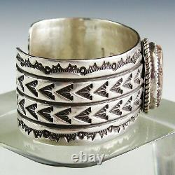 SIGNED Vtg Antique Native American Navajo Stamped Sterling Silver Cuff Bracelet