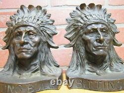 SITTING BULL NATIVE AMERICAN INDIAN CHIEF Antique Bronze Bookends J GRIFFOUL NJ