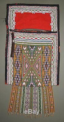 SUPERB & RARE ANTIQUE 19C NATIVE AMERICAN INDIAN BEADWORK BEADED BANDOLIER BAG