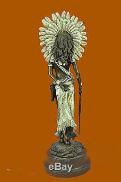 Sign Milo Native American Indian Girl Bronze Sculpture Figure Statue Art Decor